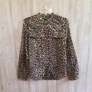 Ann Taylor Leopard Cheetah Tab Sleeve Button 023